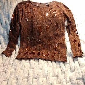 MODA Int Copper & Brown Glitter Sweater